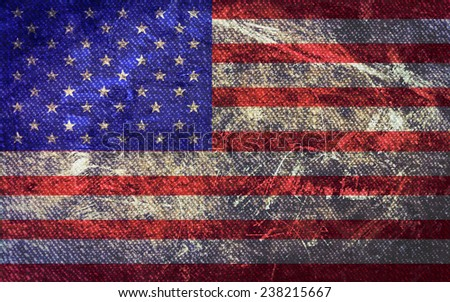 Grunge and dirty of USA flag,vintage retro - stock photo