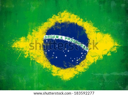 Grunge and ruined painted Brazilian flag  - stock photo