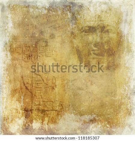 Grunge antique Egypt wallpaper with pharaoh and hieroglyphics - stock photo