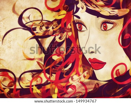 Grunge art colorful illustration of woman face with autumn floral. - stock photo