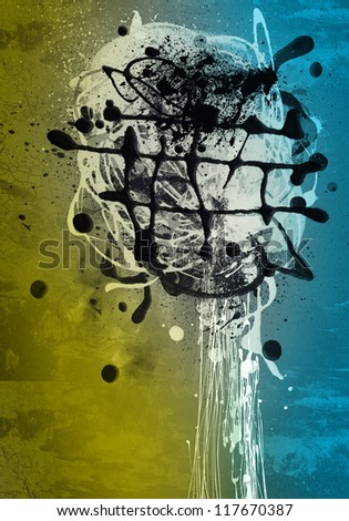 Grunge art style colorful textured abstract digital background - design - stock photo