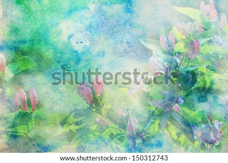 grunge artwork with small pink flowers and blue and green watercolor smudges - stock photo
