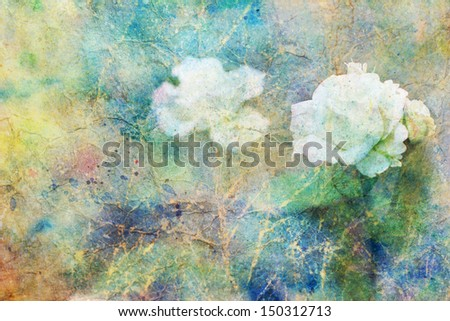 grunge artwork with white rose flowers and colorful watercolor strokes - stock photo