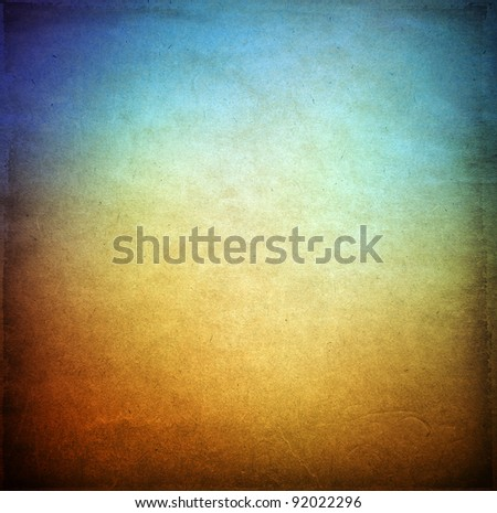 Grunge background, blue and brown color texture - stock photo