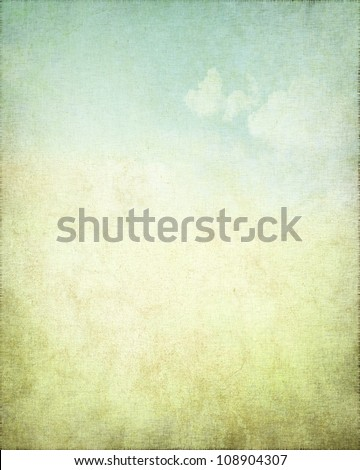 grunge background canvas texture with delicate abstract blue sky view - stock photo