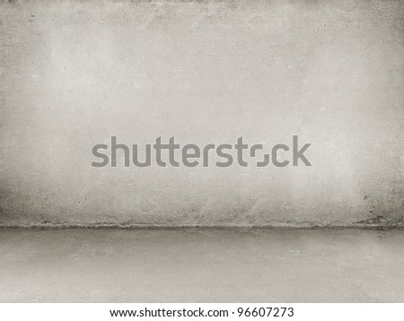 Grunge background - interior concrete wall and floor - stock photo