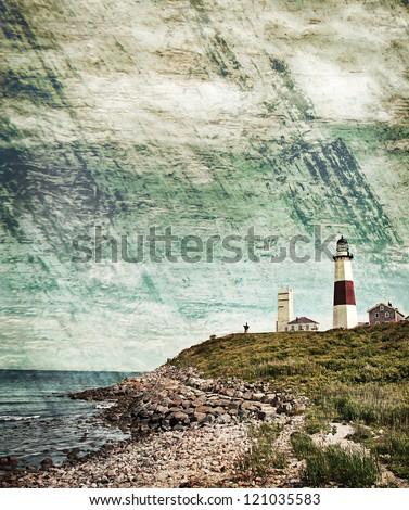 Grunge background  lighthouse - stock photo