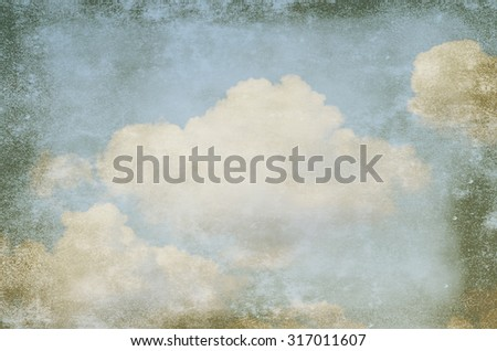 grunge background of a sky with clouds - stock photo