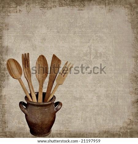 Grunge background of kitchen tools - stock photo