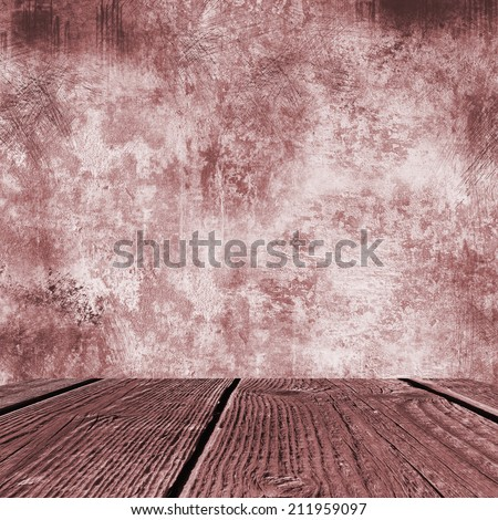 grunge background old street wall texture and sidewalk room  - stock photo