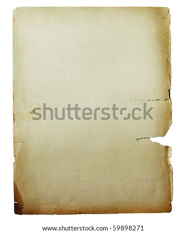 grunge background paper with space for text or image torn and wrinkled isolated - stock photo