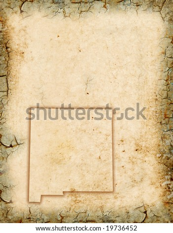Grunge background with a New Mexico map outline. - stock photo
