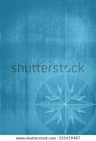 Grunge background with a wind rose in a draft style. Blue pattern. - stock photo