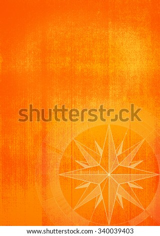 Grunge background with a wind rose in a draft style. Orange pattern. - stock photo
