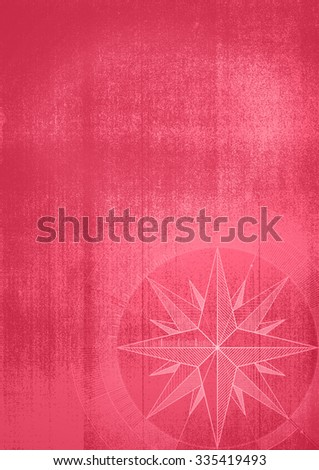 Grunge background with a wind rose in a draft style. Red pattern. - stock photo