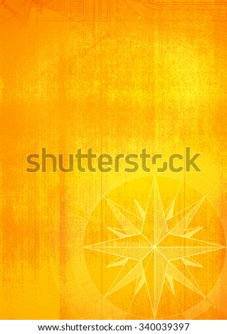 Grunge background with a wind rose in a draft style. Yellow pattern. - stock photo