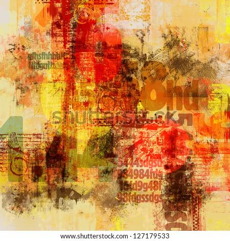 Grunge background with alphabetical elements - stock photo
