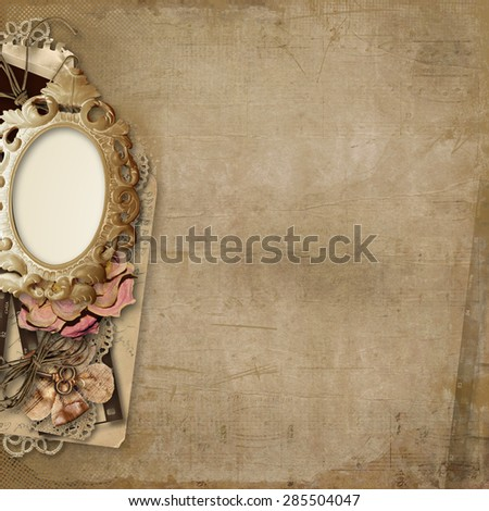 Grunge background with antique photo-frame - stock photo