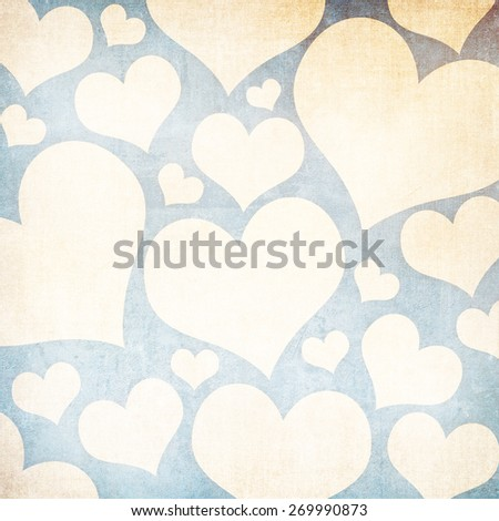 Grunge background with beige hearts - stock photo