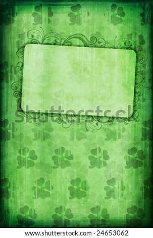 Grunge background with clover and copy-space for St. Patricks Day - stock photo