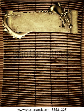 Grunge background with dragon and scroll of old parchment - stock photo