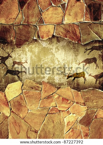 Grunge background with drawings of the primitive person - stock photo