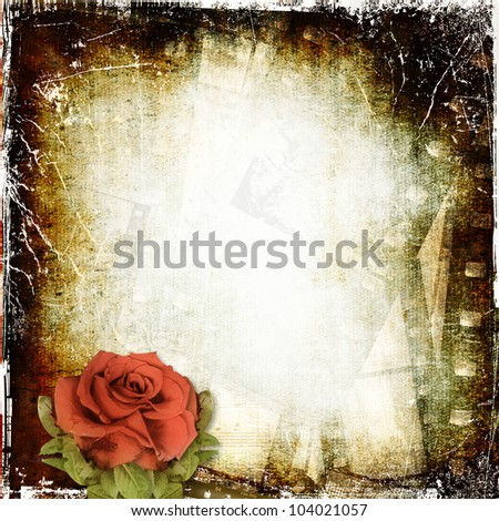 Grunge background with film and rose - stock photo