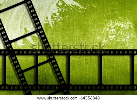 grunge background with film strips - stock photo
