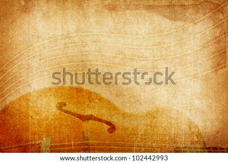 grunge background with guitar - stock photo