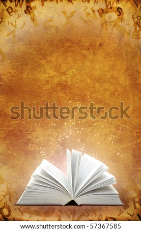 Grunge background with magic book - stock photo