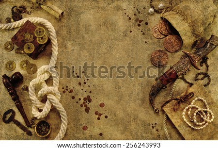 Grunge background with nautical and pirate objects, old fabric texture effect with bloody drops and copy space - stock photo
