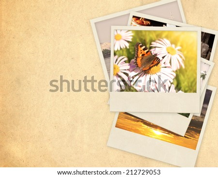 Grunge background with old paper and photos - stock photo
