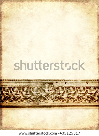 Grunge background with paper texture and carving with dancers of Preah Khan Temple, in famous landmark Angkor Wat complex, khmer culture, Siem Reap, Cambodia - stock photo