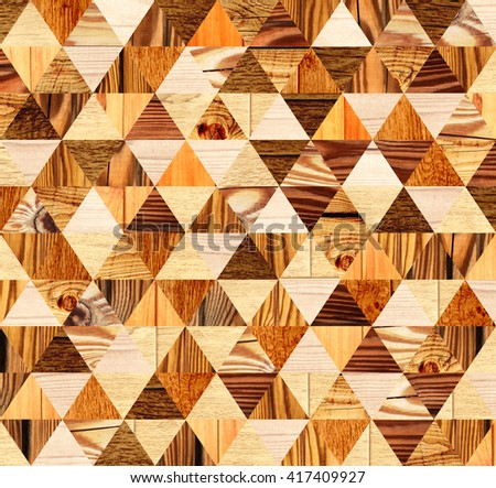 Grunge background with wooden triangles patterns of different colors - stock photo