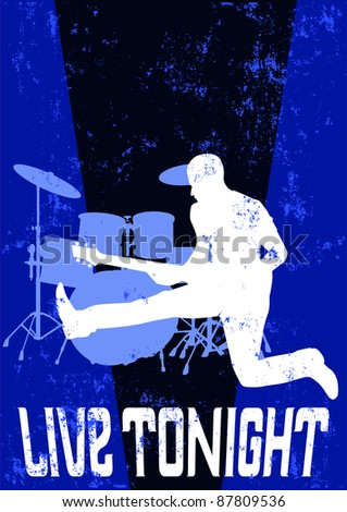 Grunge band poster illustration - stock photo