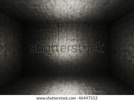 Grunge bare concrete room - stock photo