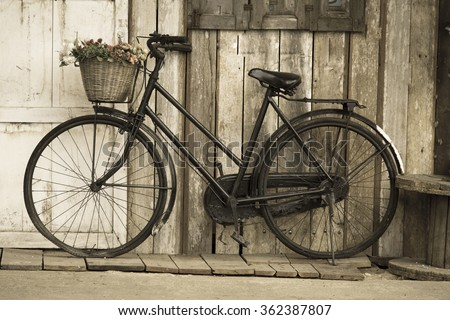 grunge bicycle - stock photo
