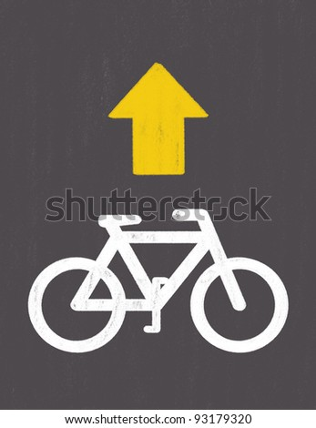grunge Bicycle Road Sign drawing by pastel on charcoal paper - stock photo