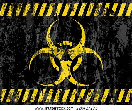 grunge biohazard sign background illustration. - stock photo