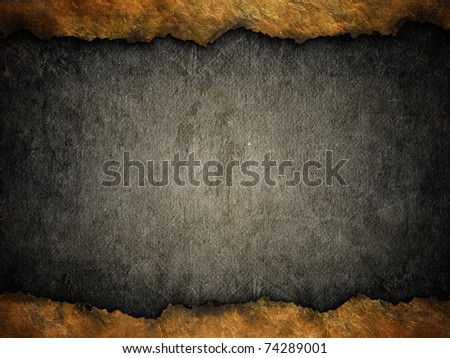 grunge black background with ripped golden edges - stock photo
