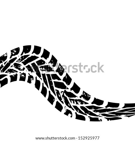 grunge black tire track on white background - stock photo