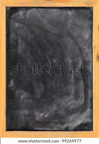 Grunge blank blackboard copyspace with wood frame - stock photo