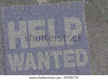 Grunge Blue and White Help Wanted Sign with hinges. - stock photo