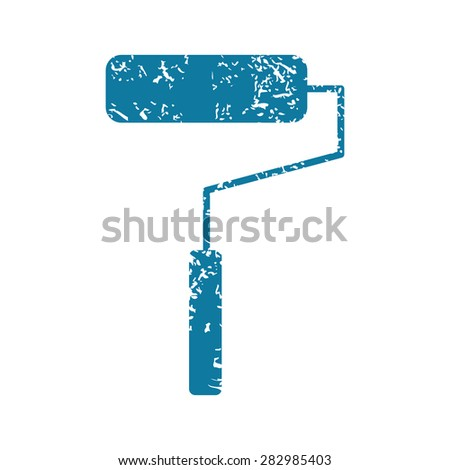 Grunge blue icon with image of paint roller, isolated on white - stock photo
