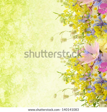 Grunge bouquet of summer flowers  with bokeh and copy space,  floral background - stock photo