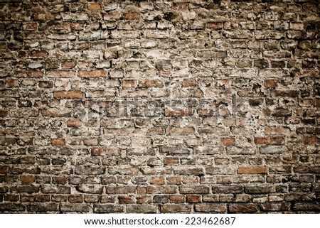 Grunge brick wall texture. - stock photo