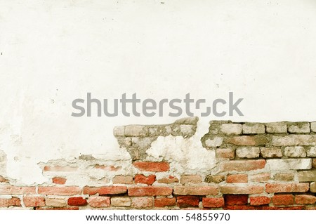 Grunge  brick wall with space for text - stock photo