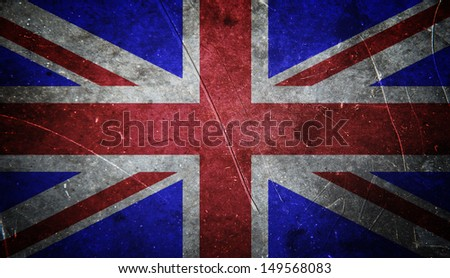Grunge british flag with scratched stone texture - stock photo