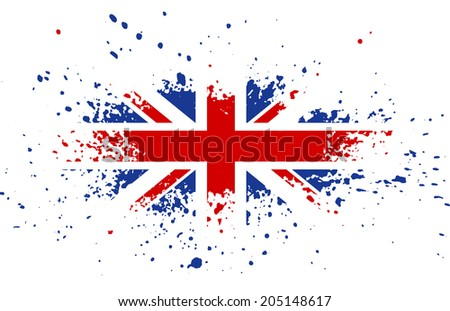 Grunge British ink splattered flag  - stock photo