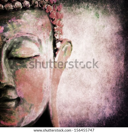 Grunge Buddha red - stock photo